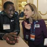 Kathrine Switzer in Boston before this year's Marathon.