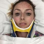 Shelby Pagan posted this selfie on the Kat Von D website to show the crispness of her eyeliner after a car accident.