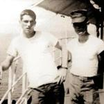 Peter Moskos, left, on the USS Chilton in the Mediterranean Sea in 1966. The Marine was killed in Vietnam the following year.