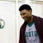 Waltham, MA - 5/17/2018 - Boston Celtics guard Marcus Smart (36) after today's Boston Celtics practice. - (Barry Chin/Globe Staff), Section: Sports, Reporter: Adam Himmelsbach, Topic: 18Celtics practice, LOID: 8.4.1964854463.