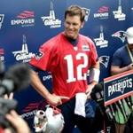 06/07/2018 Foxboro Ma- New England Patriots #12 QB Tom Brady (cq) talks to the media after Mini Camp. Jonathan Wiggs /Globe Staff Reporter:Topic