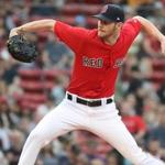 Boston MA 6/8/18 Boston Red Sox starting pitcher Chris Sale delivers a pitch to the Chicago White Sox during first inning action at Fenway Park. (photo by Matthew J. Lee/Globe staff) topic: 03schtrack reporter: