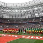 MOSCOW, RUSSIA - JUNE 14: Russia and Saudi Arabia line up prior to the 2018 FIFA World Cup Russia Group A match between Russia and Saudi Arabia at Luzhniki Stadium on June 14, 2018 in Moscow, Russia. (Photo by Catherine Ivill/Getty Images)