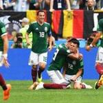EDITORIAL USE ONLY Mandatory Credit: Photo by FACUNDO ARRIZABALAGA/EPA-EFE/REX/Shutterstock (9718610ht) Hirving Lozano Group F Germany vs Mexico, Moscow, Russian Federation - 17 Jun 2018 Hirving Lozano (2-R) of Mexico celebrates with his teammates after scoring the 1-0 lead during the FIFA World Cup 2018 group F preliminary round soccer match between Germany and Mexico in Moscow, Russia, 17 June 2018. (RESTRICTIONS APPLY: Editorial Use Only, not used in association with any commercial entity - Images must not be used in any form of alert service or push service of any kind including via mobile alert services, downloads to mobile devices or MMS messaging - Images must appear as still images and must not emulate match action video footage - No alteration is made to, and no text or image is superimposed over, any published image which: (a) intentionally obscures or removes a sponsor identification image; or (b) adds or overlays the commercial identification of any third party which is not officially associated with the FIFA World Cup)