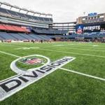 01/11/2018 FOXBORO, MA The playoff logo on the field after a Patriots' practice at Gillette Stadium in Foxboro. (Aram Boghosian for The Boston Globe)