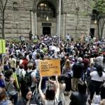 Protestors rallied in front of the Allegheny County Courthouse on Thursday in Pittsburgh to protesting the killing of Antwon Rose Jr., who was fatally shot by a police officer seconds after he fled a traffic stop late Tuesday.