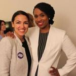 Alexandria Ocasio-Cortez and Ayanna Pressley in a Twitter photo from September 2018.