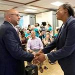 Jeff Sánchez and Nika Elugardo at a candidates forum at the First Baptist Church earlier this month.