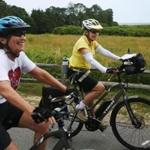 MARTHA'S VINEYARD, MA - 07/11/2018 Ruth Weiner and Judy Lipsky push through on day two of a three-day journey, covering hundreds of miles, on Martha's Vineyard. Ruth and Judy met in a mom playgroup in the 70s, found they shared a love of bicycling, and now, in their 70s, the two have cycled 1000s of miles together, all over the world. Erin Clark for the Boston Globe