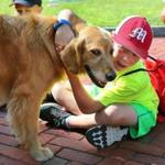 Colin Carlson, 8, enjoyed a hug with Dawn, the therapy dog that visited the kids at Camp Kangaroo.