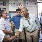 Former Massachusetts Governor Deval Patrick campaigns for Colin Allred, who is running for governor in Texas, during an appearance at Allred's campaign headquarters in Richardson, Texas. Gov. Patrick is considering a 2020 presidential run.