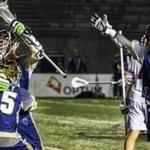 Allston, MA.--June 28, 2018-- Stan Grossfeld/Globe Staff---Will Manny (with stick raised) who was cut from Team USA celebrates the game winner as the MLL All-Stars beat Team USA 15-14 in overtime at Harvard Stadium. Here he is greeted by Joel Tinney (55) as teammate Michael Chanenchuk (1) also celebrates.
