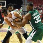LAS VEGAS, NV - JULY 15: Zach Collins #33 of the Portland Trail Blazers and Guerschon Yabusele #30 of the Boston Celtics fight for a rebound during a quarterfinal game of the 2018 NBA Summer League at the Thomas & Mack Center on July 15, 2018 in Las Vegas, Nevada. NOTE TO USER: User expressly acknowledges and agrees that, by downloading and or using this photograph, User is consenting to the terms and conditions of the Getty Images License Agreement. (Photo by Ethan Miller/Getty Images)