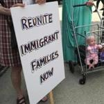 Protesters rallied against the separation of immigrant families in Bridgeport on July 11.