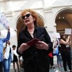 Photographer Nan Goldin led the protest at the Arthur M. Sackler Museum.