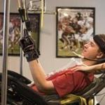 Hoover, Al.--July 2, 2018-- Stan Grossfeld/Globe Staff---Ben Abercrombie, the Harvard football player who was paralyzed in his first game as a freshman last September undergoes rehab at his house with Chelsea Henderson, a personal trainer.
