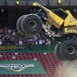 A Monster Jam truck performs during the first-ever monster truck event in Beijing's iconic