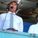 Boston-8/03/17-Red Sox vs White Sox- NESN announcer and former Red Sox hall of fame pitcher Dennis Eckersley (left)was back in the announcers booth with Dave O'Brien as they stand for the national anthem. John Tlumacki/Globe Staff(sports)