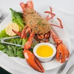 The baked stuffed lobster at The Wild Rose Restaurant at Stonehurst Manor.