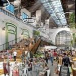 An image of a planned food hall and gathering space in the former turbine area at the L Street Power Station.