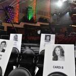Celebrity seat cards are seen during the 2018 MTV Video Music Awards press junket at Radio City Music Hall in New York on August 17, 2018. - The 2018 VMAs will be held on August 20, 2018. (Photo by Angela Weiss / AFP)ANGELA WEISS/AFP/Getty Images