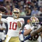 49ers quarterback Jimmy Garoppolo was 10 of 12 and threw for a touchdown Saturday,