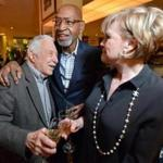 Mr. Broadnax (center) with former Scullers Jazz Club booker Fred Taylor and singer Donna Byrne during a party in Taylor's honor last year.