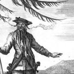 Blackbeard, in an image published in 1736.