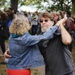 "Dance partners Suzanne Watzman and Harry Wolfson danced during the ""Jazz Along the Charles"" event on Sunday."