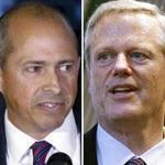 Democratic Jay Gonzalez (left) is running against Governor Charlie Baker, a Republican, in Massachusetts.