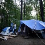 Navy veteran Norman Franks spent four months in a cramped tent in a campsite on the grounds of Hanscom Air Force Base.
