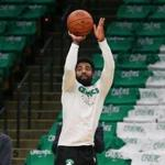 Boston MA 10/16/18 Boston Celtics Kyrie Irving shooting around before they play the Philadelphia 76ers at TD Garden. (photo by Matthew J. Lee/Globe staff) topic: reporter: