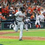 Houston TX 10/16/18: Red Sox Jackie Bradley Jr. rounds the bases after his grand slam home run in the eighth inning. Houston Astros hosted Boston Red Sox in Game Three of ALCS at Minute Maid Park Tuesday, Oct. 16, 2018. (Jim Davis/Globe Staff)
