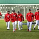 Boston10/20/18 TheRed Sox held a practice at Fenway Park as they prepare for Tuesday's start of the World Series at Fenway Park. Players do warmup runs in the outfield. Photo by John Tlumacki/Globe Staff(sports)