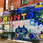 Colorful street art in Graffiti Alley in the Fashion District of Toronto