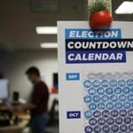 A calendar counting down to Election Day took center stage at the Somerville offices of Democratic fund-raising platform ActBlue.