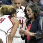 Rutgers head coach C. Vivian Stringer talks to Rutgers guard Arella Guirantes (24) during a timeout in the fourth quarter of an NCAA college basketball game against Central Connecticut Tuesday, Nov. 13, 2018, in Piscataway, N.J. Rutgers defeated Central Connecticut 73-44 as Stringer got her 1,000th career win. (AP Photo/Bill Kostroun)