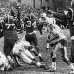 Swampscott's Mike Lynch kicks the game-winning field goal with time running out against Marblehead in 1969.