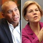 Former governor Deval Patrick (left) and Senators Elizabeth Warren (center) and Bernie Sanders are among the New Englanders who could face off in New Hampshire in 2020.