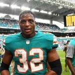 MIAMI, FL - DECEMBER 09: Kenyan Drake #32 of the Miami Dolphins after defeating the New England Patriots 34-33 at Hard Rock Stadium on December 9, 2018 in Miami, Florida. (Photo by Mark Brown/Getty Images)
