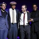 From left: Maxime Sanchez, Isaiah J. Thompson, Tom Oren, and Herbie Hancock are shown onstage during the awards presentation at the 2018 Thelonious Monk Institute Of Jazz International Piano Competition.