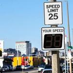 BOSTON, MA - 12/18/2018:Spped limit posted and actual drivers speed seen here on Old Colony Ave. City of Boston speed calming measures throughout the city, to lower traffic, such as digital feedback signs, speed bumps, and curb extensions(David L Ryan/Globe Staff ) SECTION: METRO TOPIC 19speeding