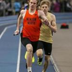 Roxbury Crossing, MA--1/12/2019--Newton North High School's Theo Burba takes the lead in his leg of the 4x400 relay at the MSTCA Division 1 Coaches Invitational Relays at the Reggie Lewis Center Saturday afternoon. North won the 4x400 and finished thrid overall. (Nathan Klima) Topic: 13schd1relays Reporter:
