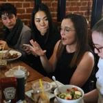 Organizers of March Forward Massachusetts met for a working lunch, to finalize plans for the 3rd annual women's march. From left are Kelsey Barowich, Mimi Nguyen, Alycia Kennedy, and Lily Corman-Penzel.