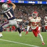 Foxborough MA 10/14/18 New England Patriots Julian Edelman making a touchdown reception beating Kansas City Chiefs Kendall Fuller during second quarter action at Gillette Stadium. (photo by Matthew J. Lee/Globe staff) topic: reporter: