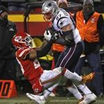 Kansas City, MO - 1/20/2019 - (4th quarter) New England Patriots tight end Rob Gronkowski (87) out wrestles Kansas City Chiefs defensive back Eric Berry (29) for the pass reception on the New England Patriots last touchdown drive late in the fourth quarter. The Kansas City Chiefs host the New England Patriots in the AFC Championship game at Arrowhead stadium. - (Barry Chin/Globe Staff), Section: Sports, Reporter: James M. McBride, Topic: 21Patriots-Chiefs, LOID: 8.5.157043654.