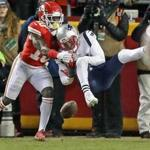 01-20-19: Kansas City, MO: Patriots DB Jonathan Jones breaks up a pass in the end zone intended for the Chiefs Tyreek Hill (left) from quarterback Patrick Mahomes (foreground right on turf) in the fourth quarter. The New England Patriots visited the Kansas City Chiefs for the AFC Championship Game at Arrowhead Stadium. (Jim Davis /Globe Staff)