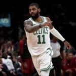 Boston, MA - 11/30/2018 - (3rd quarter) Boston Celtics guard Kyrie Irving (11) signals his three pointer is good for a 85-64 lead during the third quarter. The Boston Celtics host the Cleveland Cavaliers at TD Garden. - (Barry Chin/Globe Staff), Section: Sports, Reporter: Adam Himmelsbach, Topic: 01Celtics-Cavaliers, LOID: 8.4.3975933757.