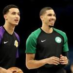 CHARLOTTE, NORTH CAROLINA - FEBRUARY 15: Jayson Tatum #0 and teammate Kyle Kuzma #0 of the U.S. Team during the 2019 Mtn Dew ICE Rising Stars at Spectrum Center on February 15, 2019 in Charlotte, North Carolina. (Photo by Streeter Lecka/Getty Images)