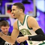 CHARLOTTE, NORTH CAROLINA - FEBRUARY 16: Jayson Tatum #0 of the Boston Celtics celebrates during the Taco Bell Skills Challenge as part of the 2019 NBA All-Star Weekend at Spectrum Center on February 16, 2019 in Charlotte, North Carolina. (Photo by Streeter Lecka/Getty Images)